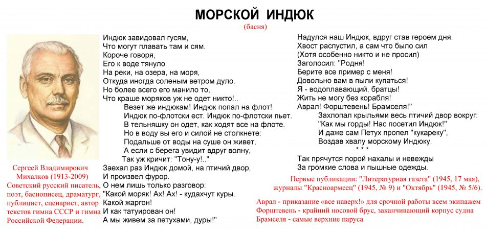 Сергей Михалков басня Морской индюк